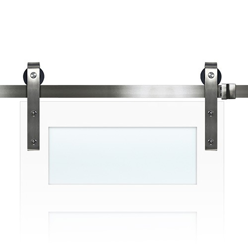 72  Sliding Barn Door Track and Hardware Kit - Nickel  sc 1 st  Saginaw Surplus : barn door track - pezcame.com