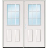 "6'0"" 9-Lite Steel Patio Prehung Double Door Unit"