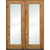 "8'0"" Tall Full Lite Knotty Alder French Doors Low-E"