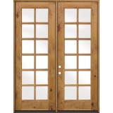 "8'0"" Tall 12-Lite TDL Knotty Alder French Doors Low-E"