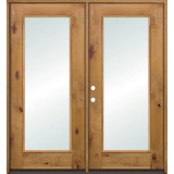 Full Lite Knotty Alder French Doors Low-E