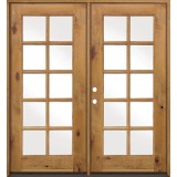 10-Lite TDL Knotty Alder French Doors Low-E