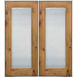 Full Mini-blind Knotty Alder Prehung Double Wood Door Unit