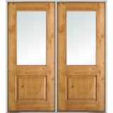 Half-Lite Knotty Alder Prehung Double Wood Door Unit