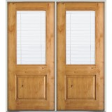 Half Mini-blind Knotty Alder Prehung Double Wood Door Unit