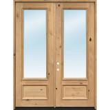 "8'0"" Tall 3/4 Lite Clear Low-E Knotty Alder Wood Double Door Unit"