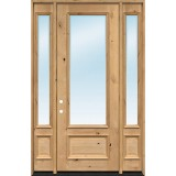 """8'0"""" Tall 3/4 Lite Clear Low-E Knotty Alder Wood Door Unit with Sidelites"""