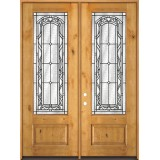 "8'0"" Tall 3/4 Lite Knotty Alder Wood Double Door Unit #292"