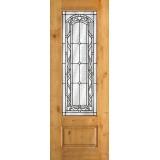 "8'0"" Tall 3/4 Lite Knotty Alder Wood Door Slab #292"