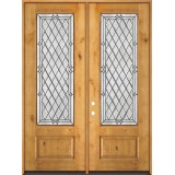 "8'0"" Tall Diamond 3/4 Lite Knotty Alder Wood Double Door Unit #294"