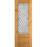 "8'0"" Tall Diamond 3/4 Lite Knotty Alder Wood Door Slab #294"