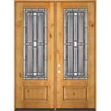 "8'0"" Tall 3/4 Lite Knotty Alder Wood Double Door Unit #297"