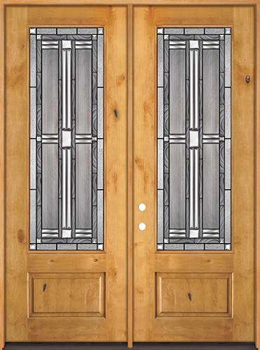 "8'0"" Tall 3/4 Lite Knotty Alder Wood Double Door Unit #297"