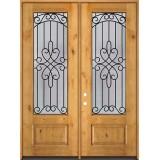 "8'0"" Tall 3/4 Lite Knotty Alder Wood Double Door Unit #299"