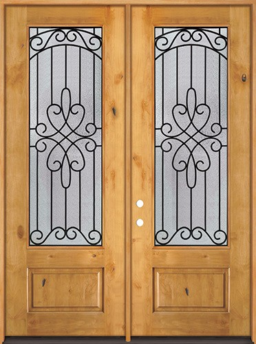 "8'0"" Tall 3/4 Lite Knotty Alder Wood Double Door Unit #299"