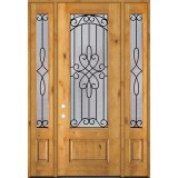 "8'0"" Tall 3/4 Lite Knotty Alder Wood Door Unit with Sidelites #299"