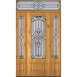 "8'0"" Tall 3/4 Lite Knotty Alder Wood Door Unit with Transom #299"