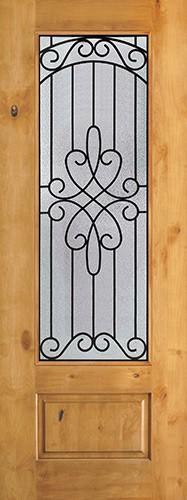 "8'0"" Tall 3/4 Lite Knotty Alder Wood Door Slab #299"