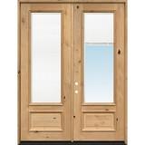 "8'0"" Tall 3/4 Mini-blind Knotty Alder Wood Double Door Unit"