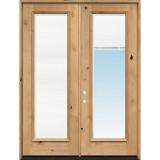"8'0"" Tall Full Mini-blind Knotty Alder Wood Double Door Unit"