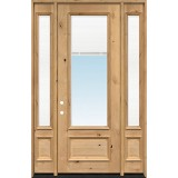 "8'0"" Tall 3/4 Mini-blind Knotty Alder Wood Door Unit with Sidelites"