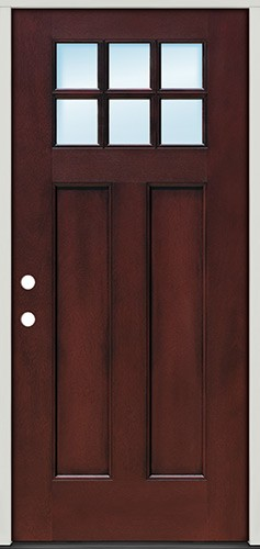 Craftsman 6-Lite Pre-finished Mahogany Fiberglass Prehung Door Unit