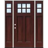 Craftsman 6-Lite Pre-finished Mahogany Fiberglass Prehung Door Unit with Sidelites