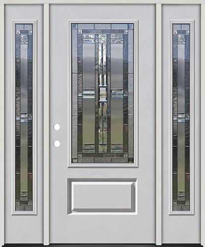 3/4 Lite Fiberglass Prehung Door Unit with Sidelites #277