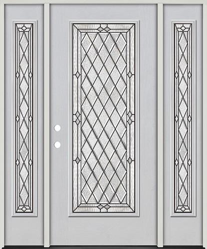 Diamond Full Lite Fiberglass Prehung Door Unit with Sidelites #294