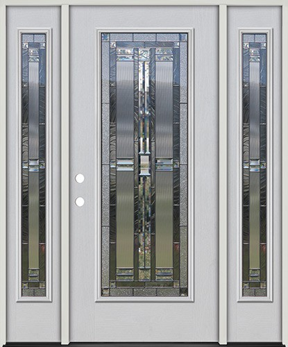 Full Lite Fiberglass Prehung Door Unit with Sidelites #297