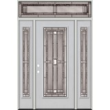 Full Lite Fiberglass Prehung Door Unit with Transom #297