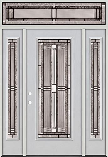 Full Lite Fiberglass Prehung Door Unit with Transom #297