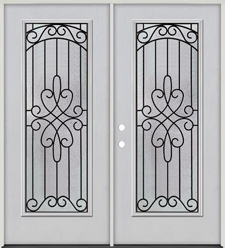 Full Lite Fiberglass Prehung Double Door Unit #299