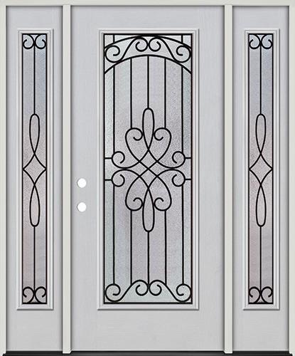 Full Lite Fiberglass Prehung Door Unit with Sidelites #299