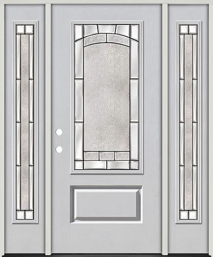 3/4 Lite Fiberglass Prehung Door Unit with Sidelites #67