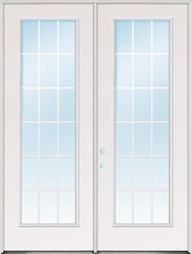 "8'0"" Tall 18-Lite GBG Fiberglass Patio Prehung Double Door Unit"