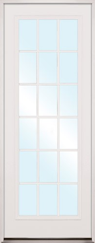 "8'0"" Tall 18-Lite Fiberglass Prehung Door Unit"