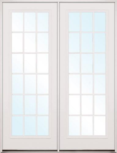 "8'0"" Tall 18-Lite Fiberglass Patio Prehung Double Door Unit"