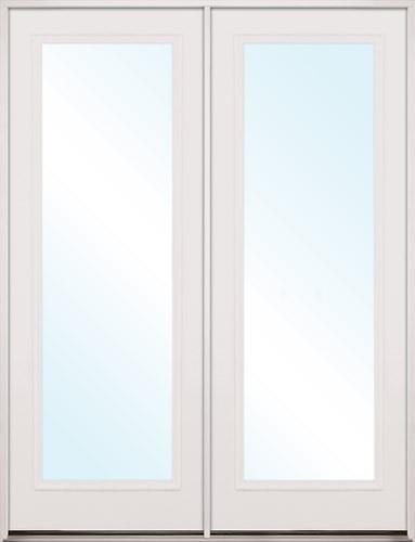 "8'0"" Tall Full Lite Fiberglass Patio Prehung Double Door Unit"
