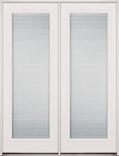 """8'0"""" Tall Mini-blinds Fiberglass Patio Prehung Double Door Unit"""