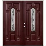 Center Arch Pre-finished Mahogany Fiberglass Prehung Double Door Unit #66