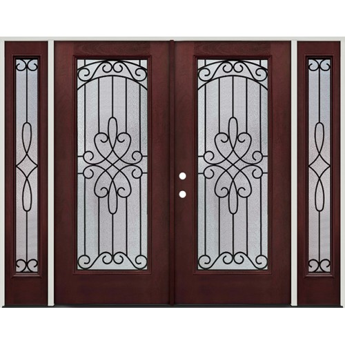 Full Lite Pre-finished Mahogany Fiberglass Prehung Double Door Unit with Sidelites #299