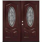 3/4 Oval Pre-finished Mahogany Fiberglass Prehung Double Door Unit #16