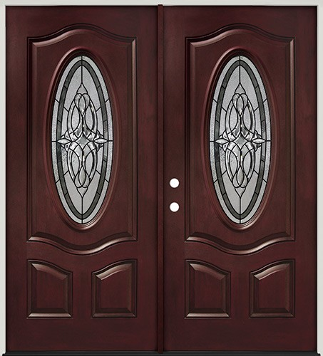 3/4 Oval Pre-finished Mahogany Fiberglass Prehung Double Door Unit #16 & Cheap 3/4 Oval Pre-finished Mahogany Fiberglass Prehung Double Door ...
