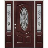 3/4 Oval Pre-finished Mahogany Fiberglass Prehung Door Unit with Sidelites #16