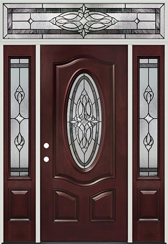 3/4 Oval Pre-finished Mahogany Fiberglass Prehung Door Unit with Transom #16