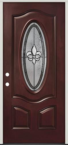 Fleur-de-lis 3/4 Oval Pre-finished Mahogany Fiberglass Prehung Door Unit #44