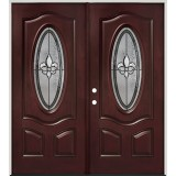 Fleur-de-lis 3/4 Oval Pre-finished Mahogany Fiberglass Prehung Double Door Unit #44