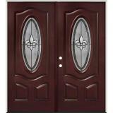 Fleur-de-lis 3/4 Oval Pre-finished Mahogany Fiberglass Prehung Double Door Unit #44