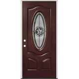 Texas Star 3/4 Oval Pre-finished Mahogany Fiberglass Prehung Door Unit #60